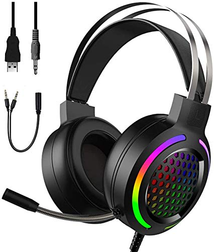 gaming headsets for p cs Gaming Headset,Rainbow LED Backlit, 3.5mm Stereo Surround with Microphone Compatible with Smart Phones, PC, PS4 and Other Gaming Devices, can Control Volume and Noise Reduction (Black)