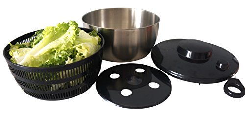 Spruce and Chic Salad Spinner -Stainless Steel Metal with Large (4.5 Quart) Salad Serving Bowl - Pull String Spinner for Drying and Serving Salad and Vegetables - Dishwasher Friendly