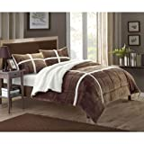 Cindy 3-Piece Sherpa Lined Plush Microsuede Comforter Set, Queen, Brown, Pillow...