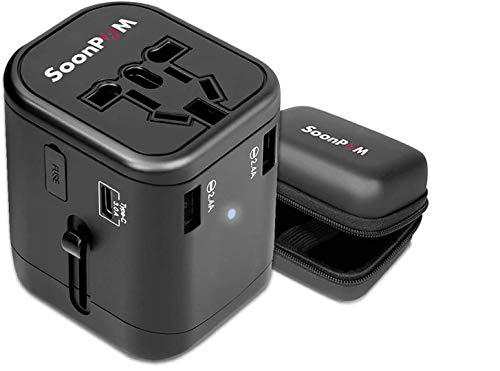 Reiseadapter Universal International Power Adapter Schnell USB-Ladegerät mit 1 TypC und 3USB-Ports Alle in Einem weltweiten Steckdose Konverter Wandstecker Adapter für Handy Laptop MAC etc(Schwarz)