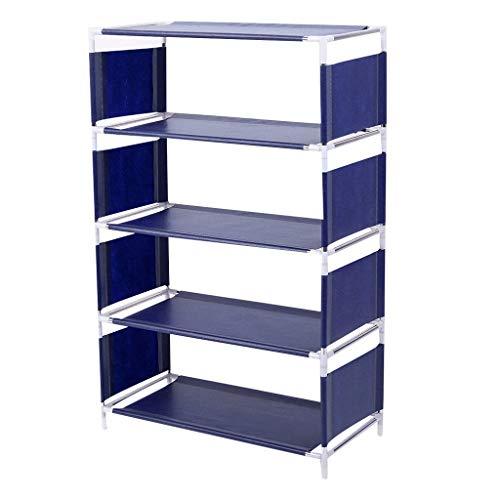 Yyqx Zapatero de varias capas con estante ajustable de tela no tejida extensible y fácil de montar 48 x 23 x 73 cm (color: azul)