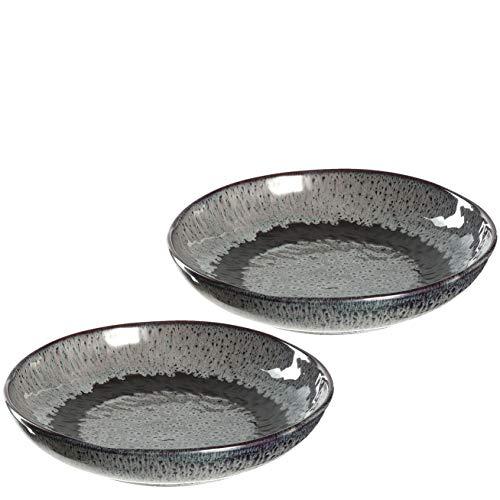 Leonardo Matera tiefe Keramik-Teller, 2-er Set, spülmaschinengeeignete Speise-Teller mit Glasur, 2 runde Steingut-Teller, Ø 20,7 cm grau, 027000
