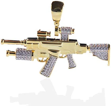 Moca Jewelry Iced Out Sniper Gun Shape Pendant 18K Gold Plated Chain Bling CZ Simulated Diamond product image
