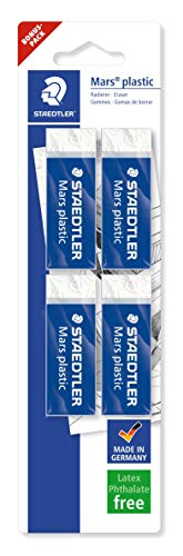 Staedtler Mars Plastic 526 50 Confezione di 4 gomme a forma di matita