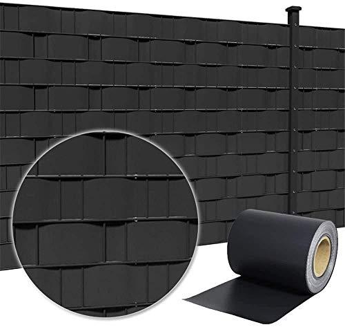 LZQ PVC Sichtschutzstreifen Sichtschutzfolie Extra dick Blickdicht Sichtschutz Streifen Doppelstabmattenzaun Zaunfolie mit 60 Befestigungsclips für Gartenzaun, Balkon (130m x 19cm, Anthrazit)