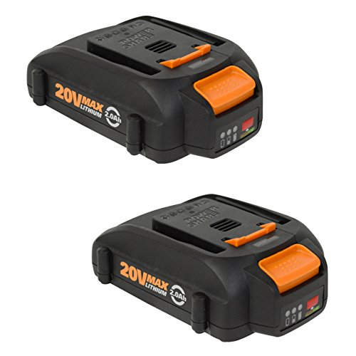 Worx WA3575 20V 2.0Ah Lithium Ion Battery Pack w/Fuel Gauge - 2 Pack