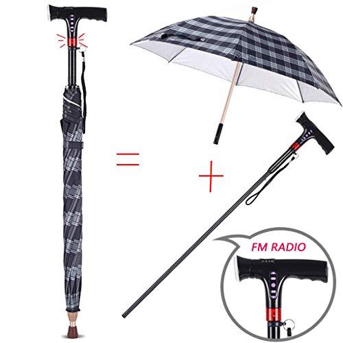 SNLY 2 in 1 paraplu wandelstok, met multifunctioneel smart handelte radio/LED, band alarm-verlichtingsfunctie, oudere mensen