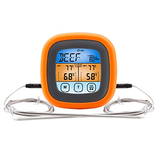 TwoStars Termometro digitale a doppio ago per grigliare, cucina cucina cucina termometro per barbecue grill affumicatore olio frittura