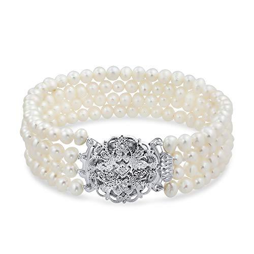 Bling Jewelry Vintage Bridal Quattro del Filo Bianco Coltivate di Acqua Dolce Perla Bracciale per Le Prom in Ottone Placcato Argento