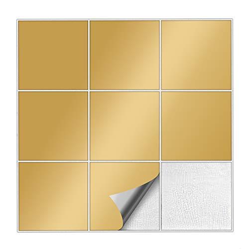 Kiwistar Fliesenaufkleber Gold 91 Seidenmatt - 15 x 15 cm - 25 Stück - Für Bad, Küche etc