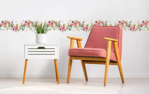 Pack de 3 Unidades Cenefas Horizontales en Vinilo autoadhesiva Vinilo para Pared Ornamento Decorativo Rosas Pintadas | 120x15cm