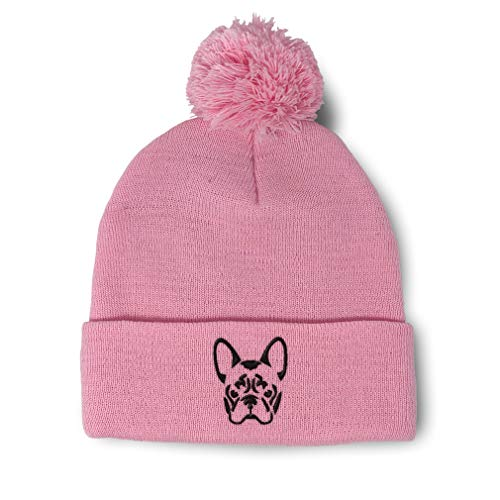 Custom Pom Pom Beanie French Bulldog Silhouette Embroidery Acrylic Skull Cap Winter Hat for Men & Women Soft Pink Design Only