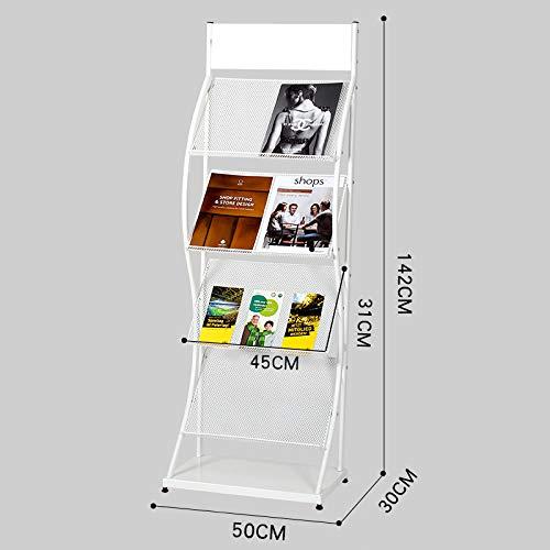 Kelly' Harvest House Zeitschriften und Broschüren Stehen Literatur Display-Ständer mit 4 Regalen Boden stehend Magazin Broschüre Rack, weiß/schwarz (Farbe : B)