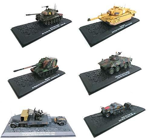 OPO 10 - Lotto di 6 Carri Armati Militari 1/72: Panzer Flakvierling con rimorchio + M41A3 Walker Bulldog + AMX AU F-1 + Challenger 2 UK + SD.Kfz.252 + Spahpanzer Luchs (L11)