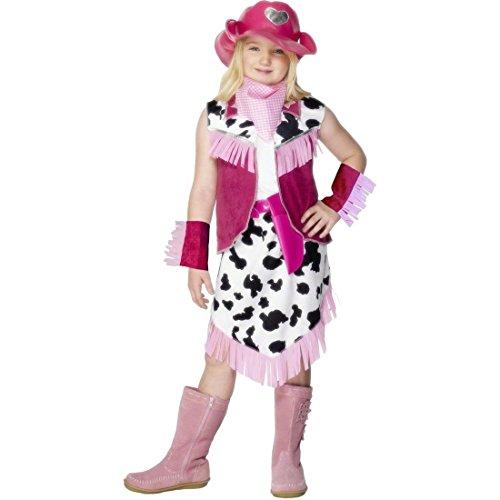 NET TOYS Costume de Cow-Girl Rose déguisement pour Fille Taille S 128cm déguisement de Cowgirl Robe de Western Costume pour Enfant Cowgirl Western rodéo