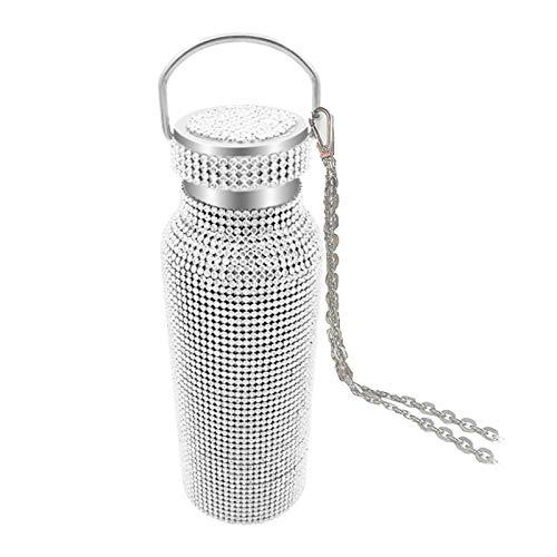 Bottiglia termica diamantata con catena in acciaio inossidabile Fiaschetta per vuoto con strass in acciaio inossidabile bling, adatta per interni all'aperto (Argento, 500ml)