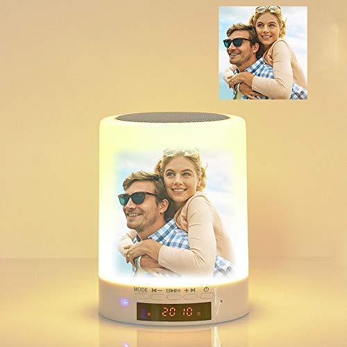 JunMei Luz de Noche de Foto Personalizada con Altavoces Bluetooth, Control de Foto de Color Personalizado Lámpara de Mesa Lámpara de Mesa Luz Nocturna LED Reproductor de música para Pareja