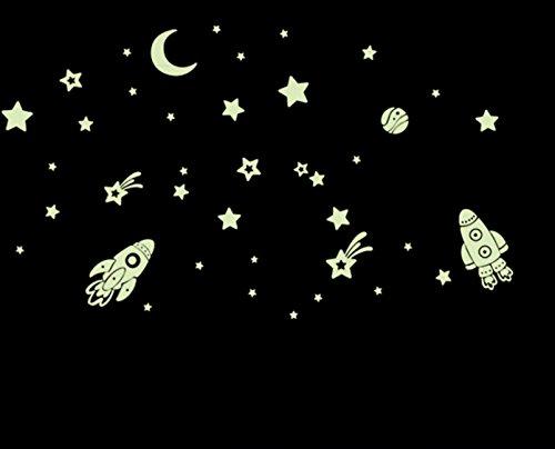 Tatuajes de pared La Luna Estrellas Rockets Iluminación nocturna Home Sticker Paper Sala de estar extraíble Dormitorio Art Picture Mural DIY Girls Boys Nursery Baby + Gift Colorful Butterflies
