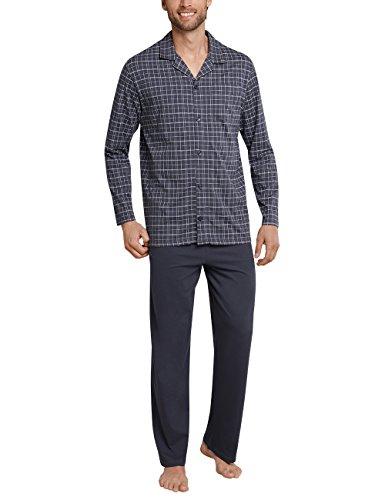 Schiesser Herren Zweiteiliger Schlafanzug Pyjama Lang, Grau (Anthrazit 203), X-Large (Herstellergröße: 054)