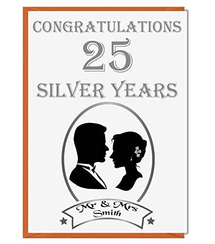Gepersonaliseerde 25e zilveren trouwkaart - Gefeliciteerd Mr en Mrs 02