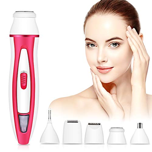 Veru ETERNITY Facial Hair Removal for Women, 5 in 1 Painless Hair Remover for Women- Includes Facial Shaver, Eyebrow Trimmer, Nose Trimmer, Body Shaver, Beard Trimmer-USB Rechargeable