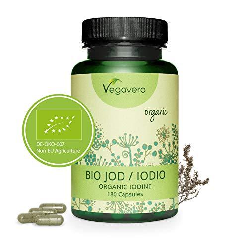 VEGAVERO® Natürliches Jod Kapseln (BIO Kelp Algen) | Bio Ascophyllum nodosum Braunalgen aus Kanada | 180 Kapseln (6 Monate) | Ohne Zusatzstoffe | Optimal dosiert: 100µg | Laborgeprüft | | Vegan