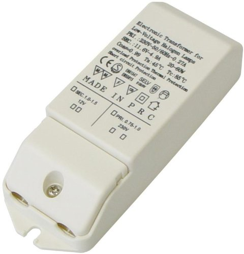 Transmedia Halogen-Trafo 230/12V/20-60W, Überlastungsschutz, Temperatursicherung, nicht dimmbar, 115 x 43 x 28 mm LT1L