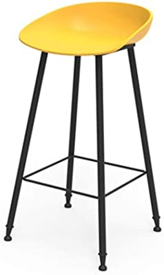 LGQZWHL Chair Nordic Bar Stool European Modern Simple Family Gold Wrought Iron Stool Creative Bar Stool, Breakfast Restaurant Stool Kitchen Island Counter Bar Stool (Color : Yellow)