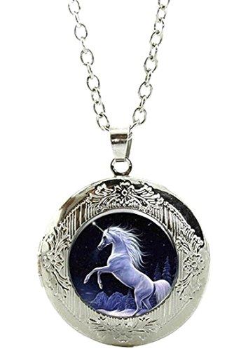 Merchandise for Fans Einhorn Amulett zum Öffnen - Halskette mit Anhänger aus Glas und Kette/Silberschmuck/Indianerschmuck - 02