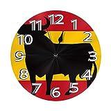 N/A Bandera de España con el toro de Osborne's Bull - Reloj de pared silencioso sin tictac, para casa, sala de estar, dormitorio, escuela, reloj de pared para niños