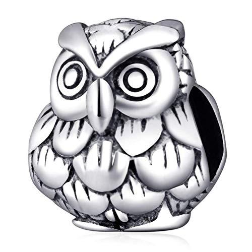 Charm de búho de plata de ley 925 Lucky Animal Charm Bird Charm Pet Charm para pulsera Pandora (B)