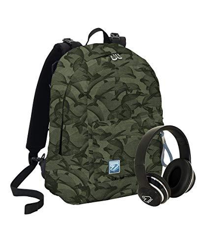 Zaino SEVEN THE DOUBLE - SPECIAL EDITION Eco material - Verde militare - Cuffie wireless - 2 zaini in 1 REVERSIBILE