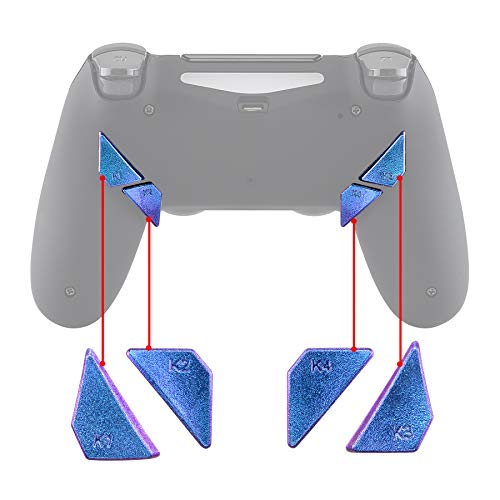 eXtremeRate Botón Trasero K1 K2 K3 K4 Paletas para Mando PS4 Que ha Instalado Dawn Remap Kit Reasignación de Botones sólidos reemplazables (Camaleónica de Azul a Violeta)