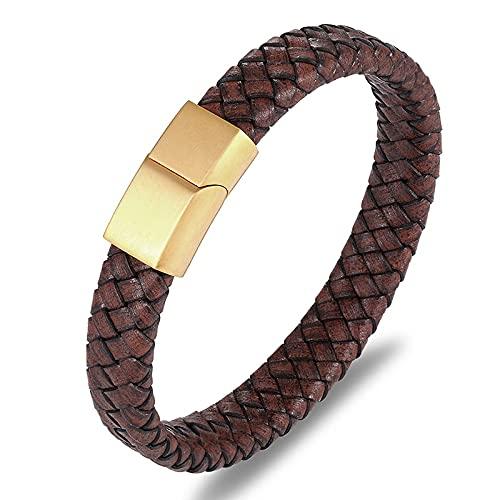 YINOX Pulsera de cuero trenzada de la personalidad del acero de titanio de los hombres, pulsera de la manera (dorado-23cm)