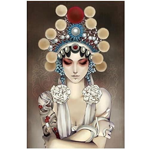 Canvas Art Modern China Peking Opera Tattoo Model Meisje Canvas Prints Muur Art Cartoon Foto Op Poster Schilderij Decoratie Voor Woonkamer 70x100cm/27.5x39.4 Geen Frame
