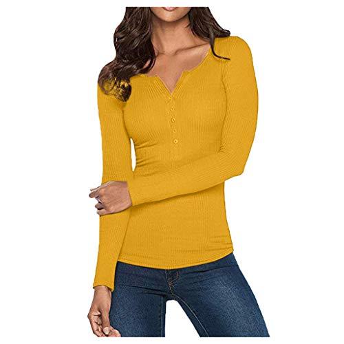 Henley Shirt FüR Frauen - Frauen Herbst Winter LäSsig Langarm V Neck TES Damen Elegante Button Up Basic Tops T-Shirt(Gelb,S)