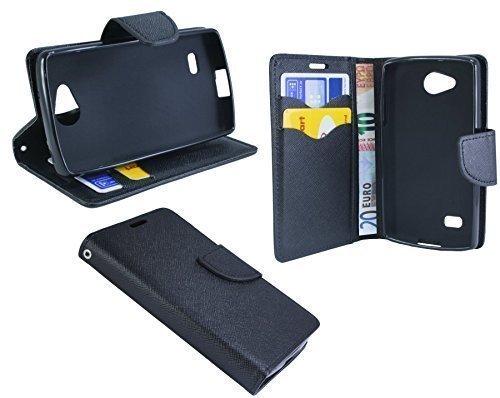 ENERGMiX Buchtasche kompatibel mit LG Joy (H220) Hülle Case Tasche Wallet BookStyle mit Standfunktion in Schwarz