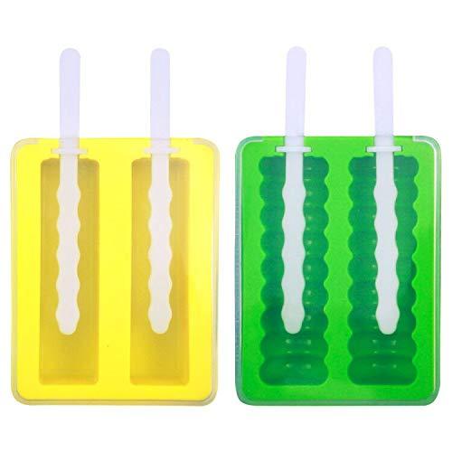 NATUCE Molde para Helados,Moldes de Polos,Reutilizable en silicona,Moldes de Paleta con palos de plastico y Tapa,Libre de BPA,DIY Congelados Zumo de Leche Yogur,2pcs- amarillo y verde