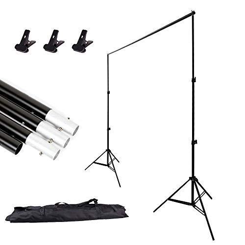 BEJOHU Professional 2x3m/ 6.5ft x 10ft Adjustable Portable Heavy Duty Photo Studio Backdrop Background Support System Stand 2x 2m Light Stands + 4 Crossbar + Carry Case
