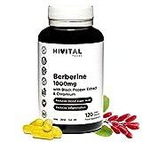 Berberina 1000 mg | 120 cápsulas veganas | Con Cromo y Pimienta Negra para una mejor absorción | El mejor extracto concentrado de Berberis Vulgaris | Fabricado en España por HIVITAL