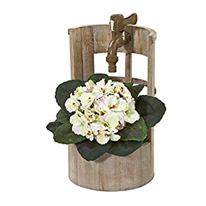 Nearly Natural Mini 12in. African Violet Artificial Faucet Planter Silk Plants, Cream/Pink