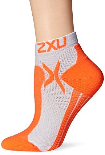 2XU Damen Performance Low Rise Socken M/L Weiß/Sunburst Orange
