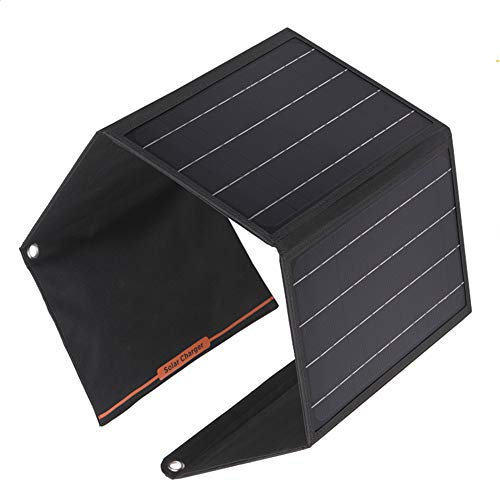 AWYLL Panel Solar 21W 2 Puertos USB Cargador Solar portátil Cargador de Panel Solar Plegable Impermeable para iPhone 11/11 Pro MAX/XS MAX / 8/7 Galaxy Note 10/10 + iPad Pro AirPods