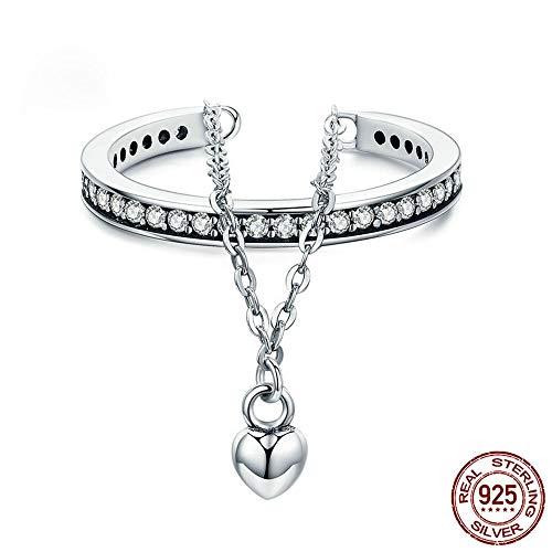 Sterling Silver Gesimuleerde Diamond Ring, Stackable Heart Chain Double Layer Ring voor vrouwen bruiloft sieraden