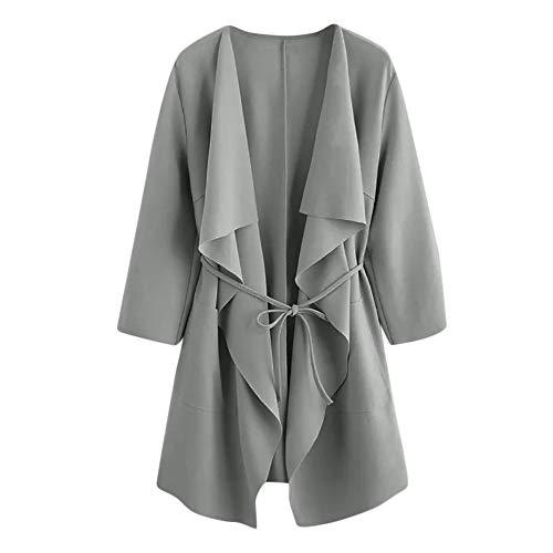 TOPKEAL Jacke Mantel Damen Herbst Winter Sweatshirt Wasserfall Kragentasche Steppjacke Front Wrap Kapuzenjacke Hoodie Pullover Outwear Coats Tops Mode 2020 (Grau, M)