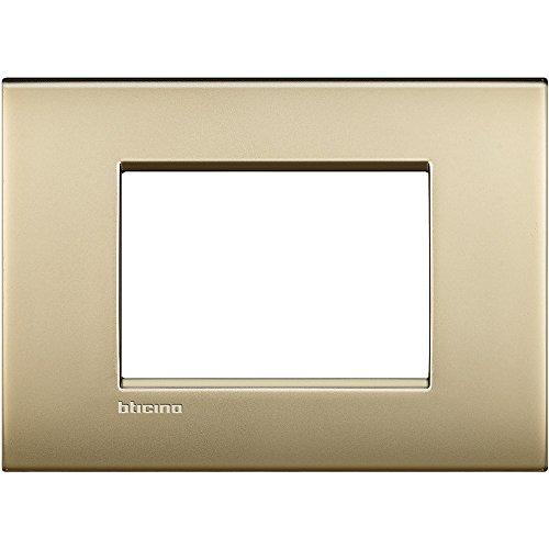 Bticino LNC4803OF Placca Livinglight Air 3 Moduli, Oro...