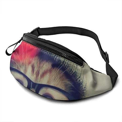 PULLA Riñonera Deportivo Bolso Cintura Cinturón Ajustable Running Belt Bolsa de Correr Cat Wear A Bear Hat