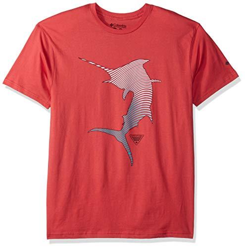 Columbia Apparel Men's Standard PFG Graphic T-Shirt, Sunset red/Cuesta, Medium