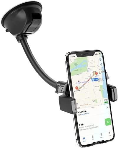Soporte del Coche Soporte Móvil Coche Salpicadero, Soporte Movil Coche con Ventosa Fuerte Brazo Largo Rotación de 360 ° para Todos los teléfonos Inteligentes