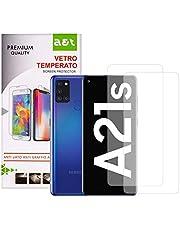 A&T Vetro Temperato per Samsung Galaxy A21s Antigraffio Protegge Schermo Senza Bolle Facile da apricale 2 pezzi + 1 Cover Trasparente Antiscivolo Morbido Lavabile che Protegge dalle Cadute